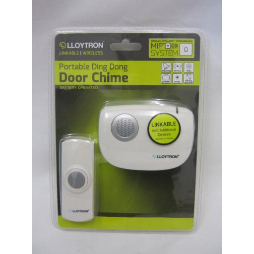 New Lloytron Portable Wireless Cordless Battery Door Bell Chime Kit 150m B7010WH
