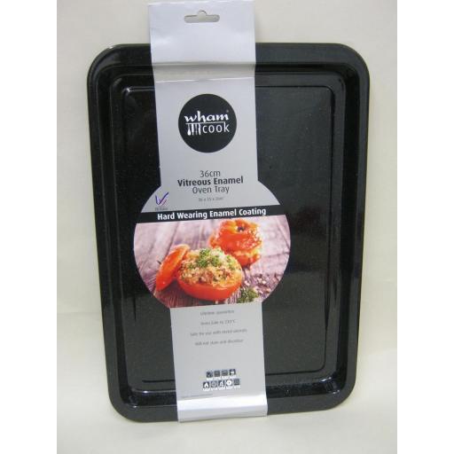 New Wham Vitreous Enamel Roasting Baking Oblong Oven Tray Black 36cm 55025