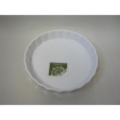 New Wm Bartleet Small Fluted Crinkle Edge Flan Dish White Porcelain T448 13CM