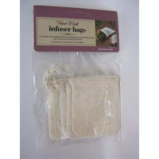 New Home Made Reuseable Cotton Herb Spice Straining Infuser Drawstring Bags Pk 4