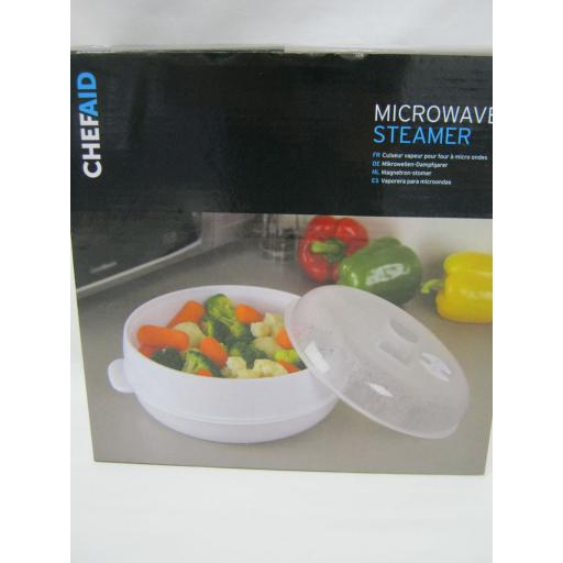 New Chef Aid Microwave Vegetable Steamer White Plastic 10E10803