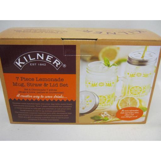 New Kilner 7 Piece Lemonade Mug, Straw and Lid Set 0025.786