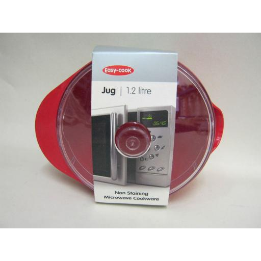 New Easy Cook Non Staining Microwave Jug And lid 1.2L Red