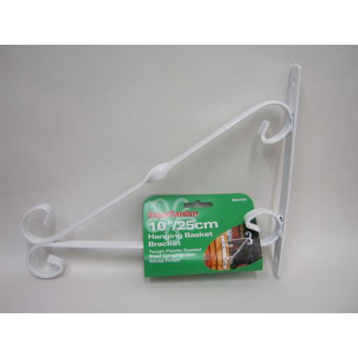 "New Supa Garden Hanging Basket Bracket 10"" 25cm White SB10W"