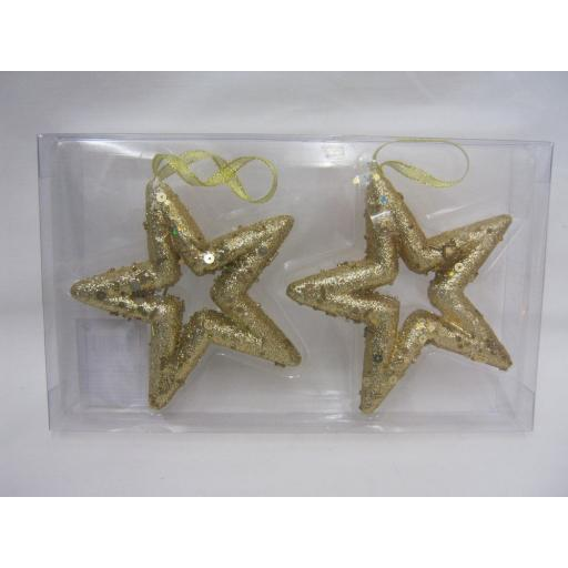 New Christmas Tree Decorations Hanging Glitter Stars Pk2 Gold 12cm