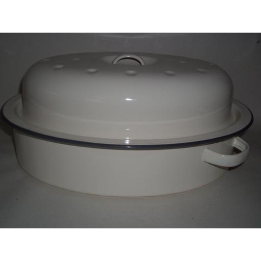 New Falcon Enamel Oval Roaster Roasting Dish Casserole Cream 33.5cm