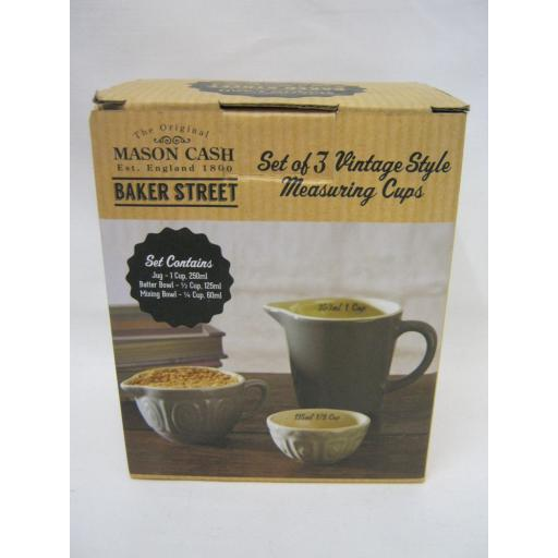 New Mason Cash Cane Vintage Style Measuring Cups Set 3 2001.124 Grey