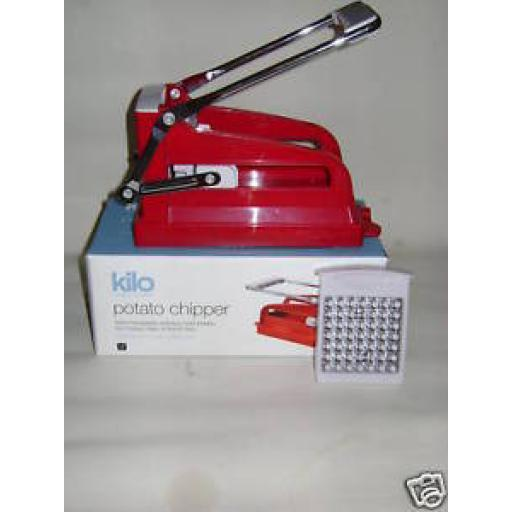 New Kilo French Fry Cutter Chip Slicer Red Plastic Potato Chipper HA51