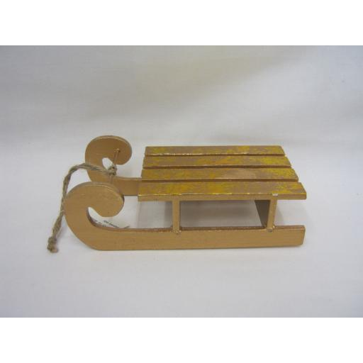 New Christmas Decoration Wooden Gold Sleigh Sledge HUA72
