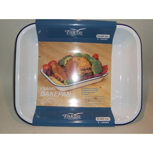 New Falcon White Enamel Bakepan Roasting Dish Pan 31cm X 25cm