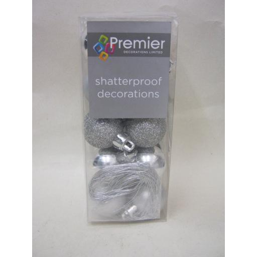 New Premier Christmas Tree Decoration Baubles Shatterproof Pk 20 x 30mm Silver