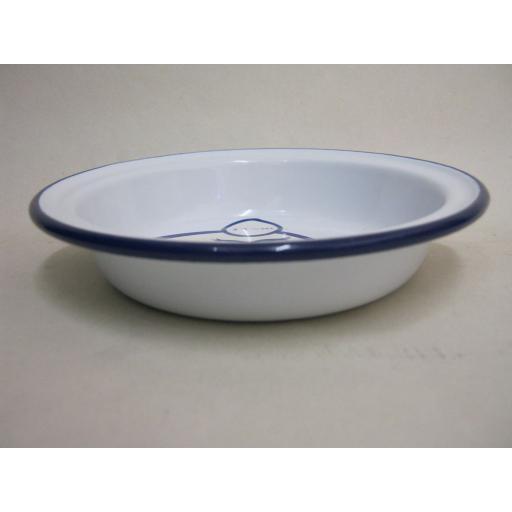 New Falcon Enamel Round White Blue Trim Pie Baking Dish Tin 14cm