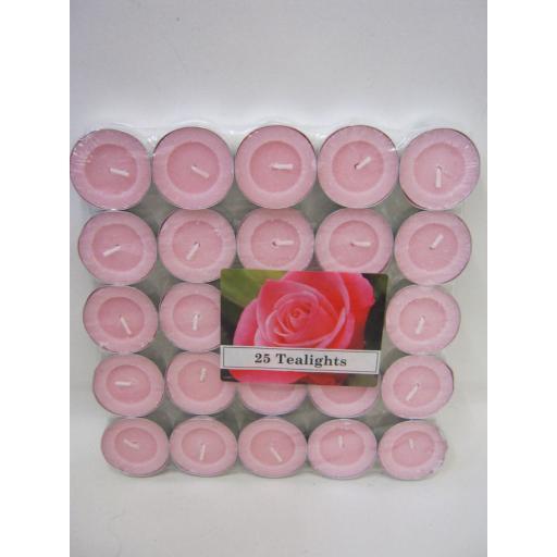 New Tealights Candles Fragranced Tea Lights Pk 25 Rose