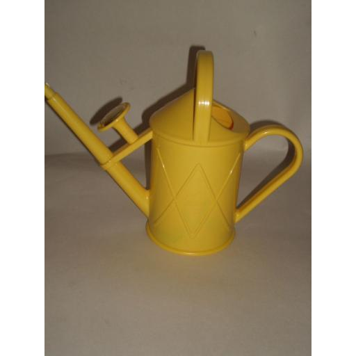 New Haws Heritage Yellow Indoor Plastic Watering Can Brass Rose 1 Litre