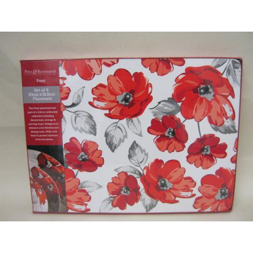New Price And Kensington Placemats Tablemats Pk4 29cm x 21.5cm Posy Design