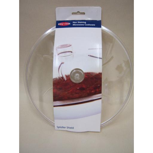 """New Easy Cook Microwave Anti Splatter Guard Cover Sheild 25cm 9.3/4"""" Clear"""