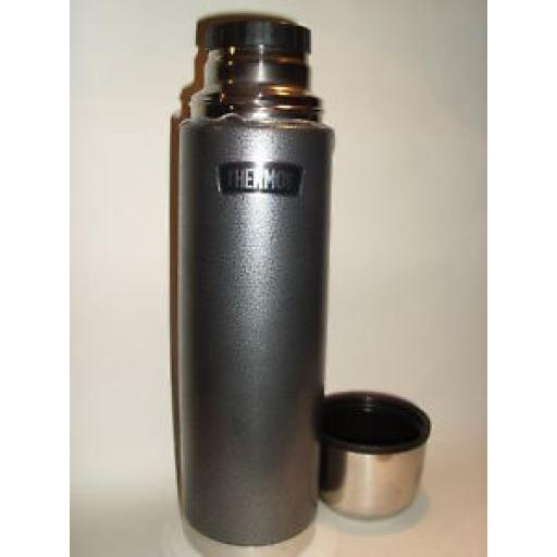 New Thermos Hammertone Grey Flask Stainless Steel 1.0L