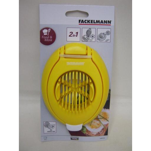 New Fackelmann Plastic Yellow Duo Egg Slicer Wedger Stainless Steel Wires 418973