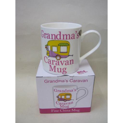 New Fine Bone China Mug Beaker Coffee Tea Cup Grandma's Caravan Mug