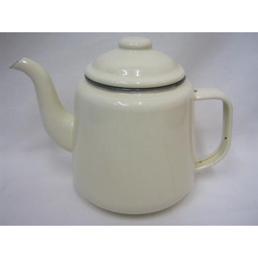 New Falcon Enamel 14cm 1.5ltr Teapot Camping Cream With Grey Trim
