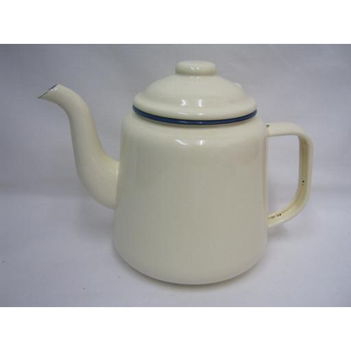 New Victor Enamel 14cm 1.5ltr Teapot Camping Cream With Blue Trim