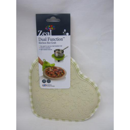 New CKS Zeal Dual Function Silicone Kitchen Hot Grab Mat Heart V110 Cream