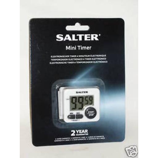 New Salter Mini Digital Electronic Kitchen Timer White 398