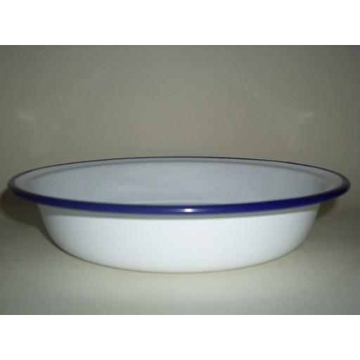 New Falcon White Enamel Round Pie Baking Dish Tin 22cm