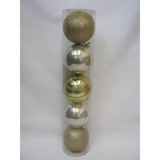 New Christmas Tree Decoration Baubles Shatterproof Pk 5 x 80mm Gold 434694