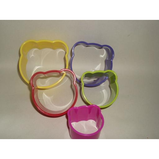 New Zeal Biscuit Pastry Cookie Cutters Plastic Set Of 5 Bears N210