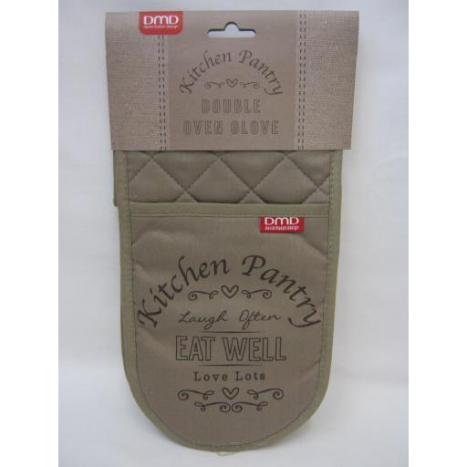 New DMD Double Oven Mitt Glove 100% Cotton Kitchen Pantry Design DD02AGA15
