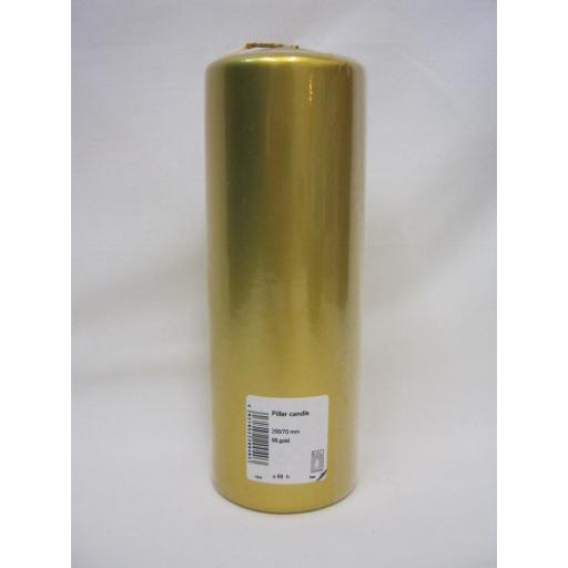 "New Ral Large Pillar Church Candle 8"" 20cm x 7cm Metallic Gold"