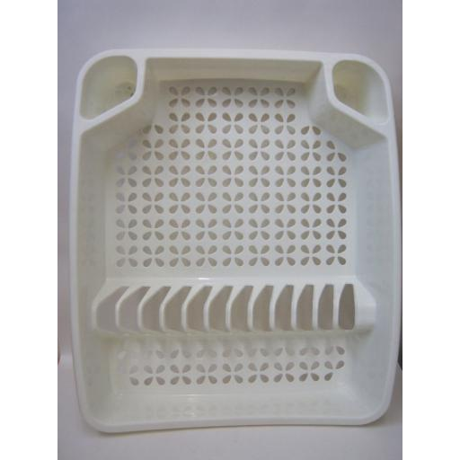 New Whitefurze Cream Oblong Plastic Washing Up Dish Drainer
