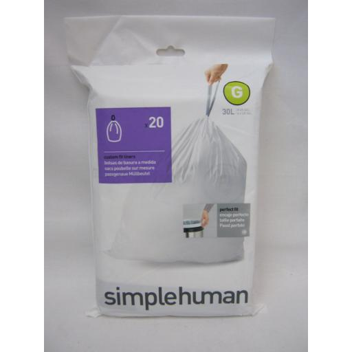 New Simplehuman Pedal Bin Custom Perfect Fit Liners 30L Size G Pack 20