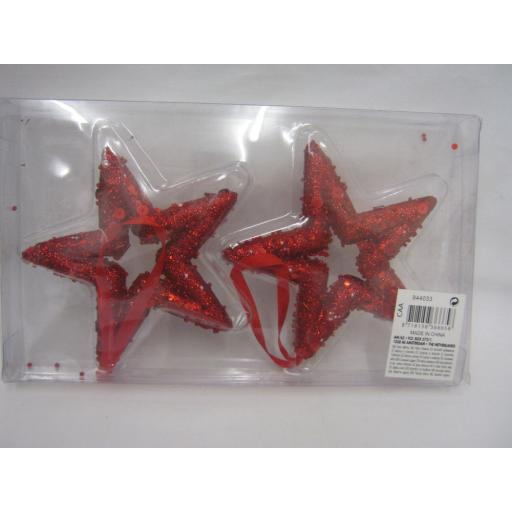 New Christmas Tree Decorations Hanging Glitter Stars Pk2 Red 12cm