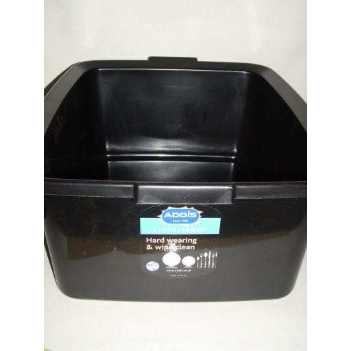 New Addis Black Oblong Plastic Washing Up Bowl 42cm Large 16.5 Inch