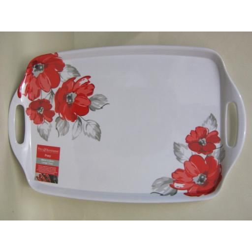New Price And Kensington Handled Tray 48cm x 31cm Red Posy Design