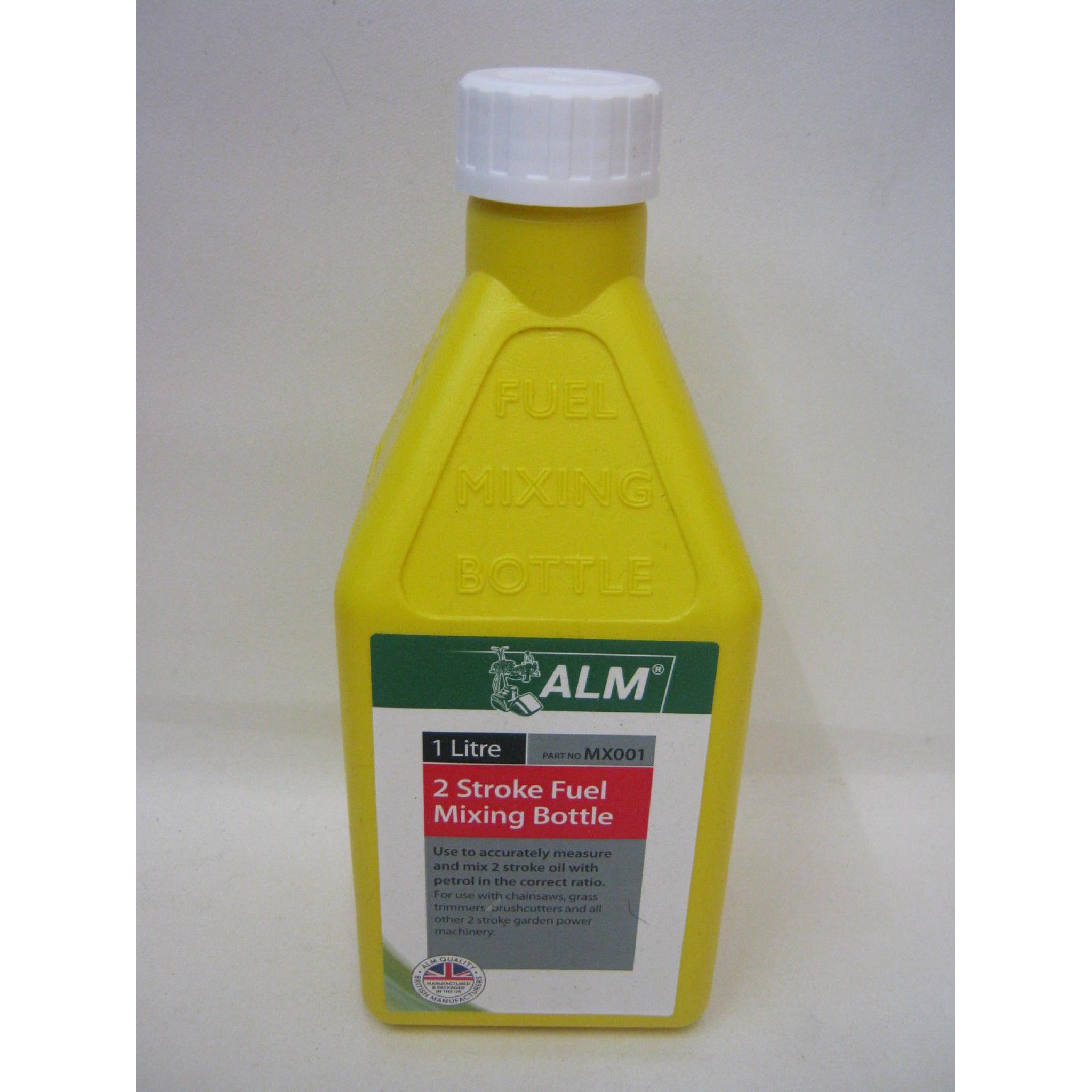 New Alm 2 Stroke Fuel Petrol Mixing Bottle Plastic 1 Ltr MX001 Yellow