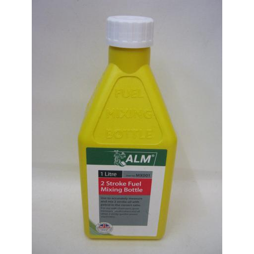 New Alm 2 Stroke Fuel Petrol Mixing Bottle Plastic 1 Ltr MX001 Yellow