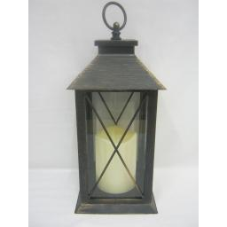 New BGC Battery Operated LED Hanging Light Lantern Black / Copper WH0010
