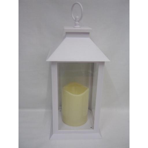 New BGC Battery Operated LED Hanging Light Lantern White WH0011