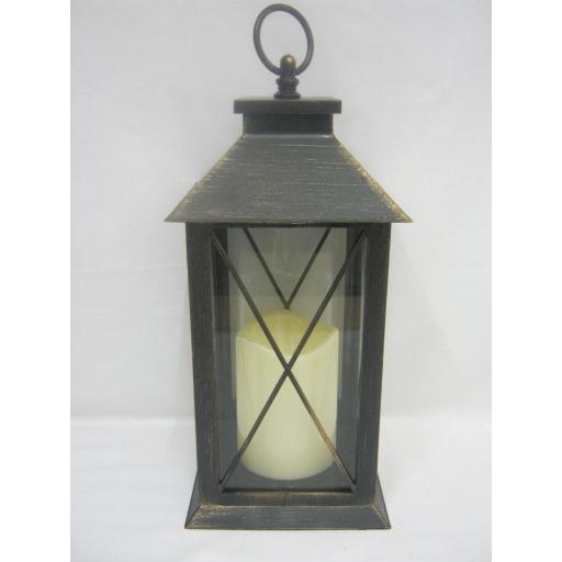 New BGC Battery Operated LED Hanging Light Lantern Black / Copper WH0010