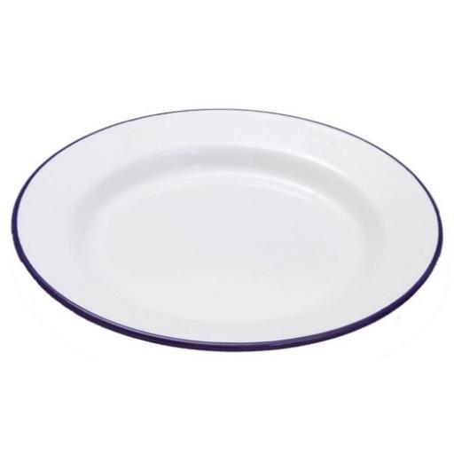 New Falcon White Blue Trim Enamel Dinner Plate 26cm