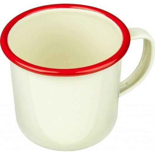 New Falcon Enamel Mug Beaker Cup Tea Camping 8cm Cream With Red Trim