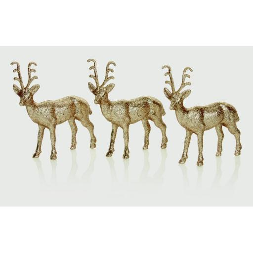 New Premier Christmas Reindeer Decoration Gold Glitter Pk3 AC155755CG