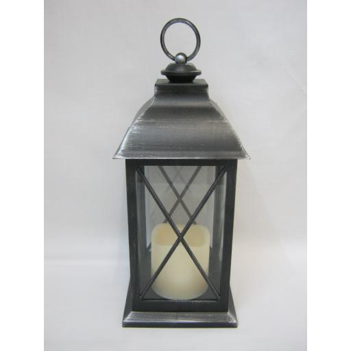 BGC Battery Operated LED Hanging Lantern Black / Silver Flameless Candle WH0024