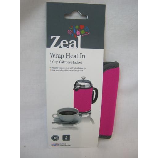 New Zeal Cafetiere Insulated Thermal Heat Wrap Jacket 3 Cup Pink C123