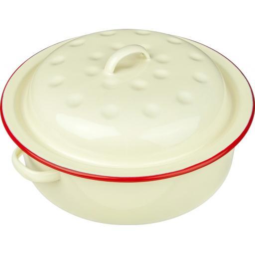 Falcon Enamel Round Roaster Roasting Dish Casserole 20cm Cream Red Trim