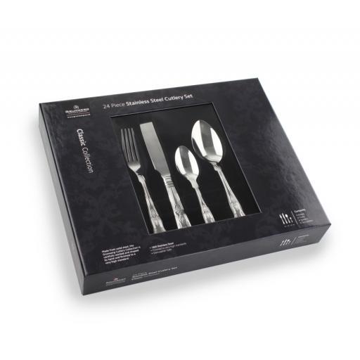 New Grunwerg Stainless Steel Cutlery Set 24 Piece Kings Design 24BXKGR