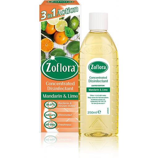 New Zoflora Disinfectant Medium Bottle 250 ml Mandarin And Lime x 2